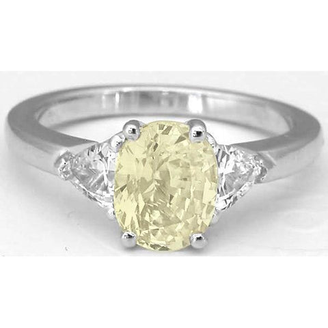 3 Stone 4.5 Ct. Oval Yellow Sapphire And Round Diamonds Ring Gold Gemstone Ring