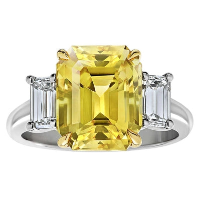 3 Stone 4.5 Ct Yellow Sapphire And Diamonds Wedding Ring Gold 14K Gemstone Ring