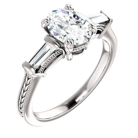 3 Stone Diamond Ring 2 Carats Vintage Style Three Stone Ring