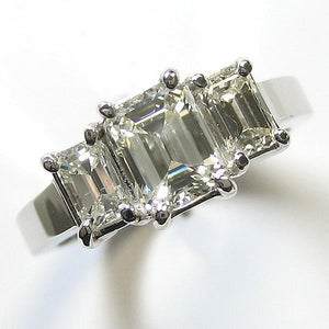 3 Stone Emerald Cut Diamond Engagement Ring White Gold 14K 1.95 Ct Three Stone Ring