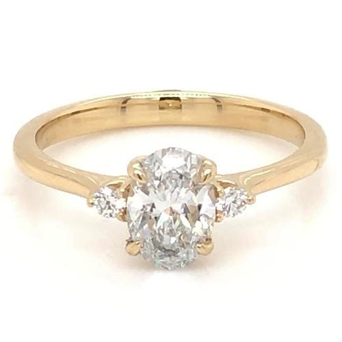 3 Stone Engagement Ring 2 Carats Oval Cut F Vs1 Women Yellow Gold 14K Jewelry Three Stone Ring
