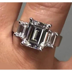3 Stone Engagement Ring 2.70 Carats Emerald Cut Diamonds Three Stone Ring