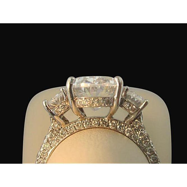 3 Stone Oval Diamond Women Ring Pave Jewelry Ring 3.51 Carats Three Stone Ring
