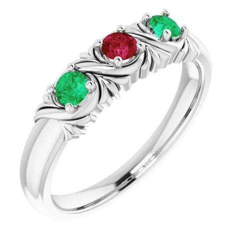 3 Stone Ring 0.60 Carats Antique Style Burma Ruby Green Emerald Women Jewelry Gemstone Ring