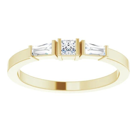 3 Stone Ring 1.10 Carats Princess & Baguette Diamonds Yellow Gold 14K Three Stone Ring