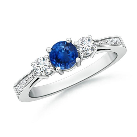 3 Stone Style 3.80 Ct Sapphire And Diamonds Wedding Ring White Gold Gemstone Ring