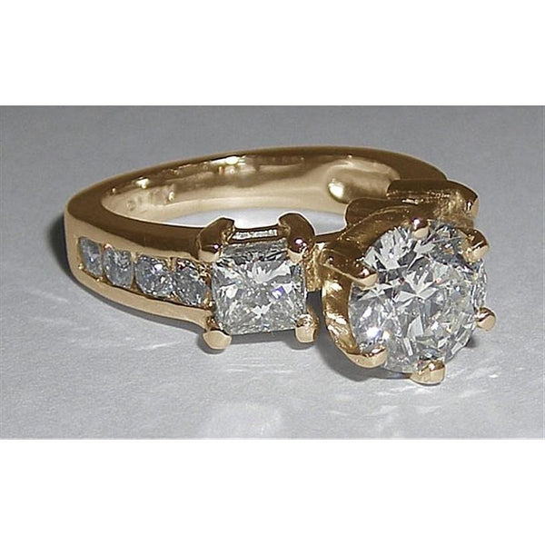 3 Stone Women Diamonds Ring Engagement 4.51 Ct. Three Stone Ring