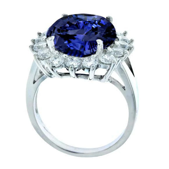 3.26 Carat Tanzanite Aaa Round Diamonds White Gold 14K Ring