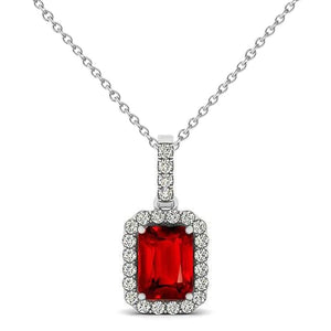 3.30 Carats Red Ruby Emerald Cut With Diamond Pendant Gold 14K