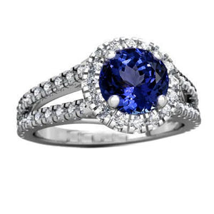 3.35 Carats Prong Set Tanzanite With Diamonds Ring 14K White Gold