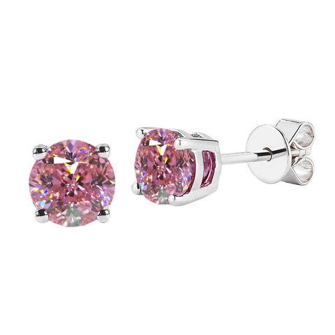 3.50 Ct Round Cut Pink Sapphire Studs Earrings 14K White Gold