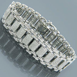 30 Carats Round Diamond Tennis Mens Bracelet Solid White Gold 14K Tennis Bracelet