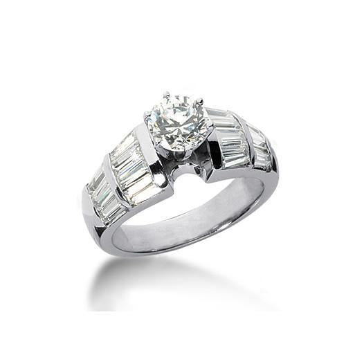 3.00 Carat Diamond Solitaire With Accents Ring White Gold Solitaire Ring with Accents