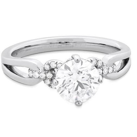 3.00 Ct Round Brilliant Cut Diamonds Engagement Ring 14K White Gold Engagement Ring