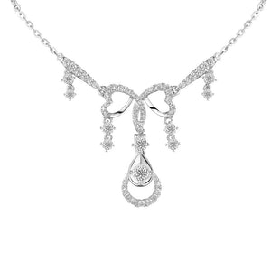 3.00 Ct Small F Vvs1 Round Cut Diamonds Lady Necklace Gold White 14K Necklace