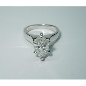 3.01 Carats E Vvs1 Marquise Diamond Solitaire Ring Platinum Solitaire Ring