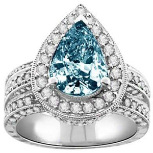3.01 Cts. Blue Pear & White Round Diamonds Ring White Gold 14K Ring