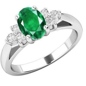 3.10 Carats Prong Set Emerald And Diamonds Ring White Gold 14K Ring
