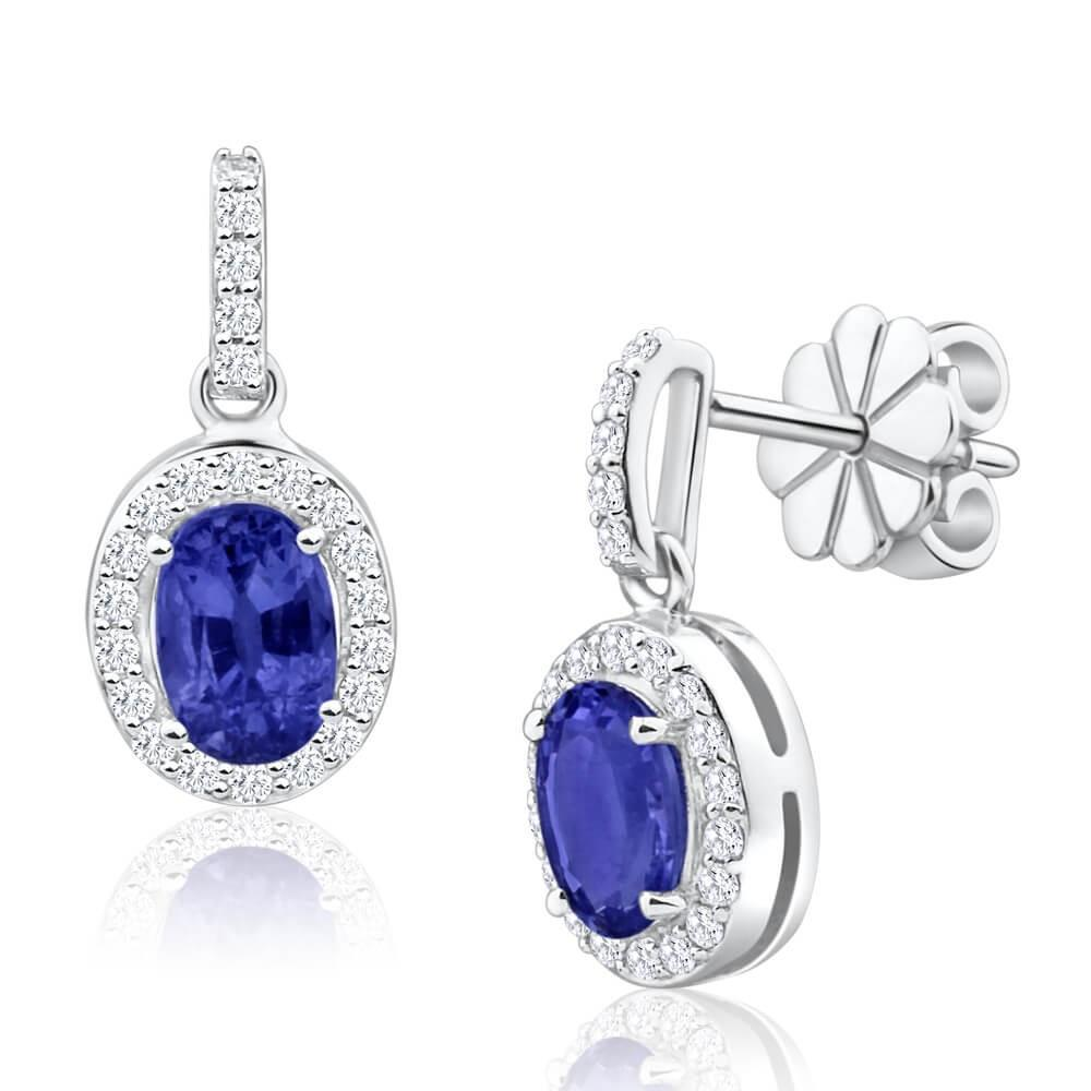 3.10 Ct Ceylon Sapphire With Diamond Dangle Earring White Gold 14K Gemstone Earring