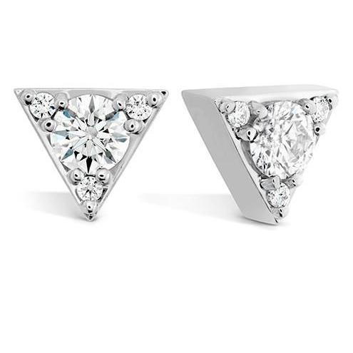 3.10 Ct Round Cut Diamonds Triangle Shaped Stud Earrings White Gold Stud Earrings