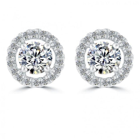 3.10 Ct. Round Halo Diamond Earring White Gold Sparkling Gold Jewelry Halo Stud Earrings
