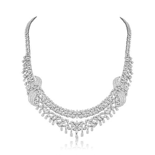 32 Ct Round Cut Sparkling Diamonds Women Necklace White Gold 14K Necklace