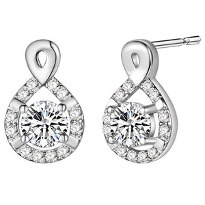 3.20 Ct Round Brilliant Cut Diamonds Lady Drop Earring White Gold Halo Drop Earrings