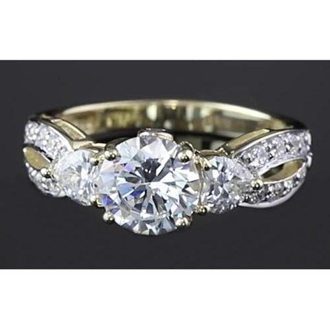 3.25 Carats Twisted Shank Round Diamond Engagement Ring Yellow Gold 14K Engagement Ring