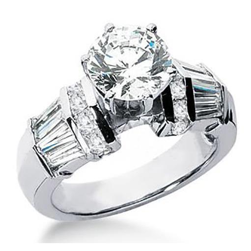 3.26 Carat Diamond Solitaire With Accents Round Baguette Ring White Gold Solitaire Ring with Accents