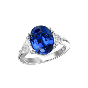 3.50 Ct Oval And Trillion Cut Ceylon Sapphire Diamonds Ring White Gold