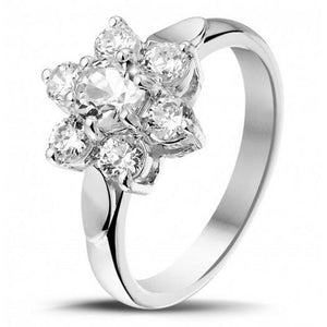 3.30 Carats Sparkling Round Cut Diamonds Engagement Ring White Gold Halo Halo Ring