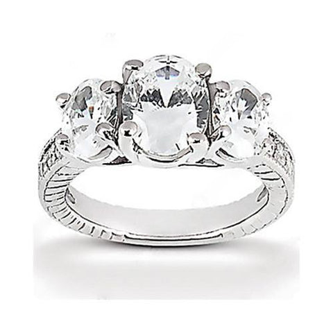 3.31 Carat Three Stone Oval Cut Diamond Ring Engagement Diamond F Vs1/Vs2 White Gold 14K Three Stone Ring