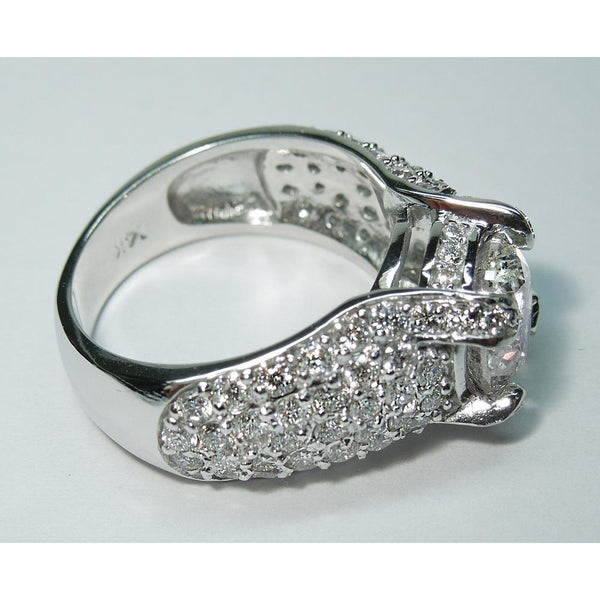 4.5 Carats Solitaire With Accents Big Pave Diamond Wedding Ring Solitaire Ring with Accents