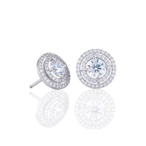 3.40 Carats Round Cut Diamond Women Studs Halo Earrings White Gold Halo Stud Earrings
