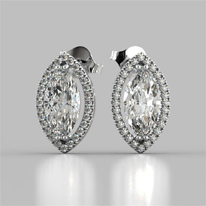 3.40 Ct Marquise And Round Halo Diamond Stud Earring White Gold Halo Stud Earrings