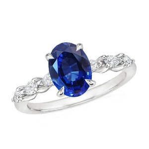 2.20 Carats Oval Ceylon Sapphire And Pear Cut Diamond Ring Gold 14K