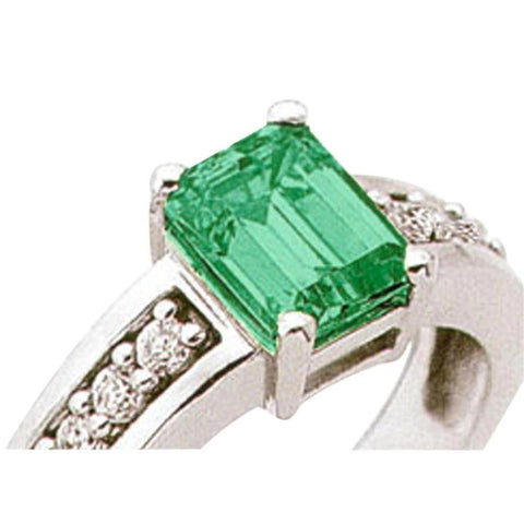 3.49 Ct Emerald Cut Emerald And Diamond Ring Solitaire With Accents Gemstone Ring