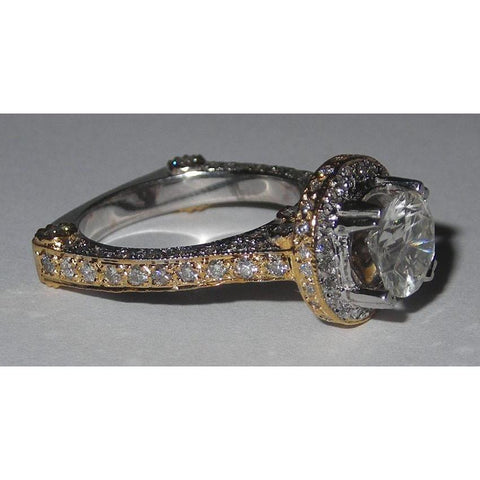 3.5 Carat Pave Diamond Engagement Fancy Ring Engagement Ring