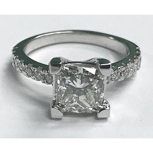 3.5 Carat Princess Cut Solitaire With Accents Diamond Ring Platinum Solitaire Ring with Accents