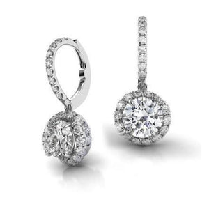 3.5 Carats Round G-Vs2 Diamond Leverback Earring Pair White Gold 14K Leverback Earrings