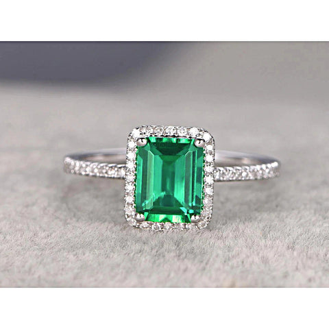 3.5 Ct Emerald Cut Green Emerald With Round Diamond Wedding Ring Gemstone Ring