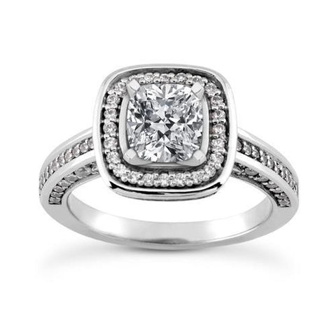 3.5 Ct. Halo Setting Sparkling Diamonds Ring White Gold Halo Ring