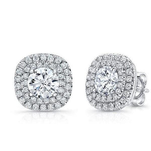 3.5 Ct Round Cut Double Halo Diamond Stud Earring Halo Stud Earrings