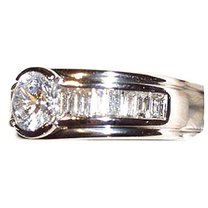 3.5 Cts. Round & Baguette Diamonds Fancy Ring Engagement Jewelry Solitaire Ring with Accents