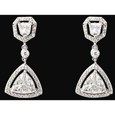 3.50 Carat Trillion Diamonds Chandelier Earrings White Gold Earring Chandelier Earring
