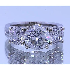 3.50 Carats Diamond Engagement Ring Four Prong Set 14K White Gold Three Stone Three Stone Ring