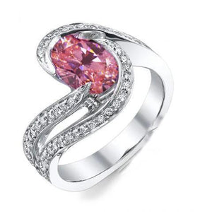 3.50 Carats Pink Sapphire With Diamonds Wedding Ring 14K White Gold Gemstone Ring