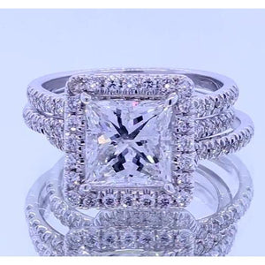 3.50 Carats Princess Cut Diamonds Halo Setting Fancy Ring White Gold 14K Halo Ring