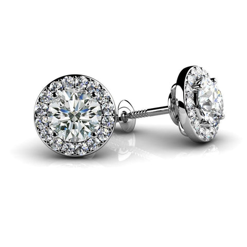 3.50 Carats Sparkling Round Cut Diamonds Halo Studs Earrings White Gold 14K Halo Stud Earrings