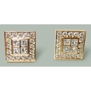3.50 Ct. Diamonds And 14K Yellow Gold Cuff Links Men'S Cufflinks Earrings